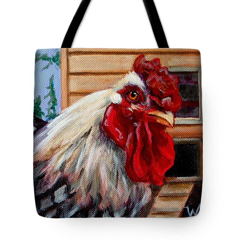 Rooster Tote Bag featuring the painting Roopert by Pattie Wall