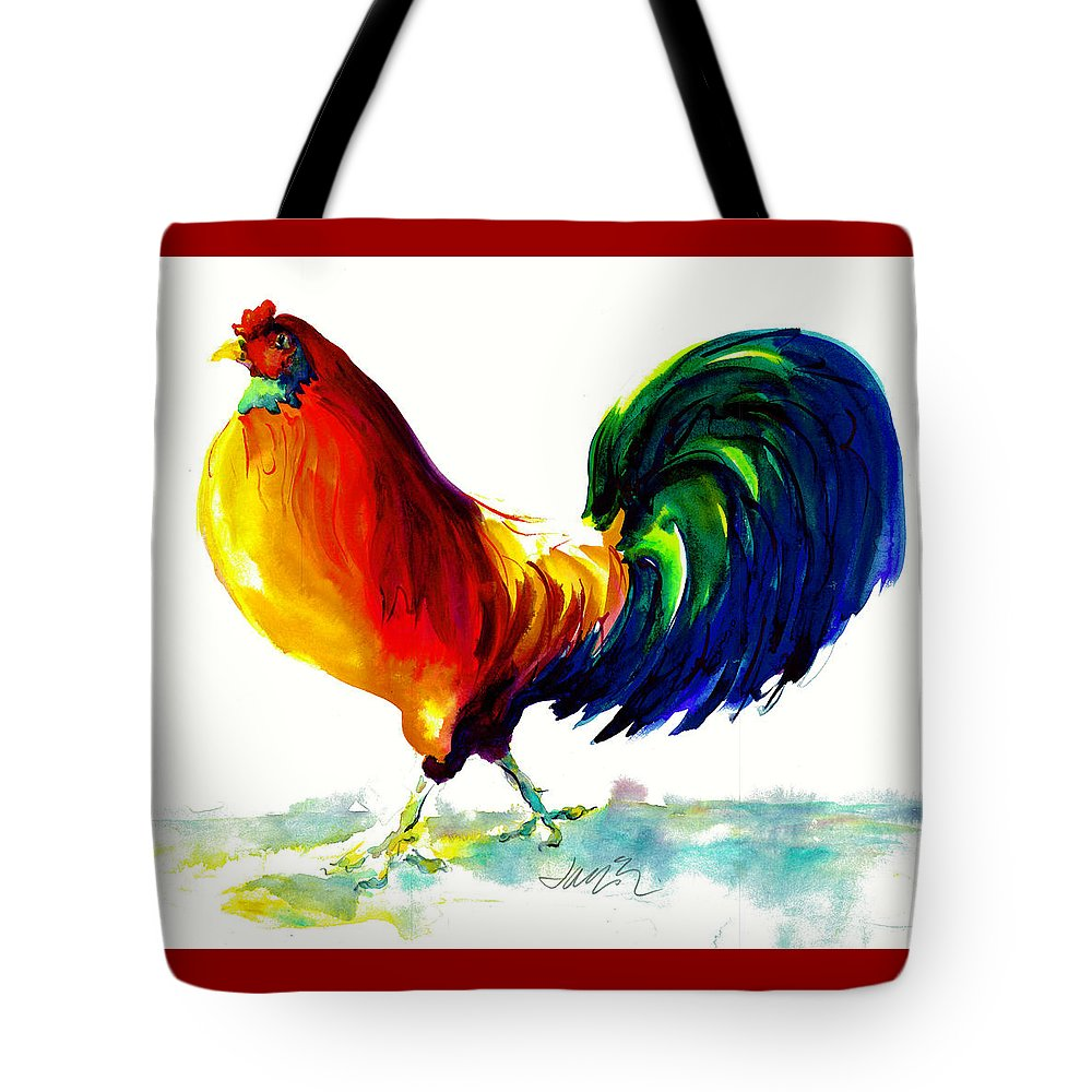Painting With Exaggerated Colors Tote Bag featuring the painting Rooster - Big Napoleon by Jacki Kellum