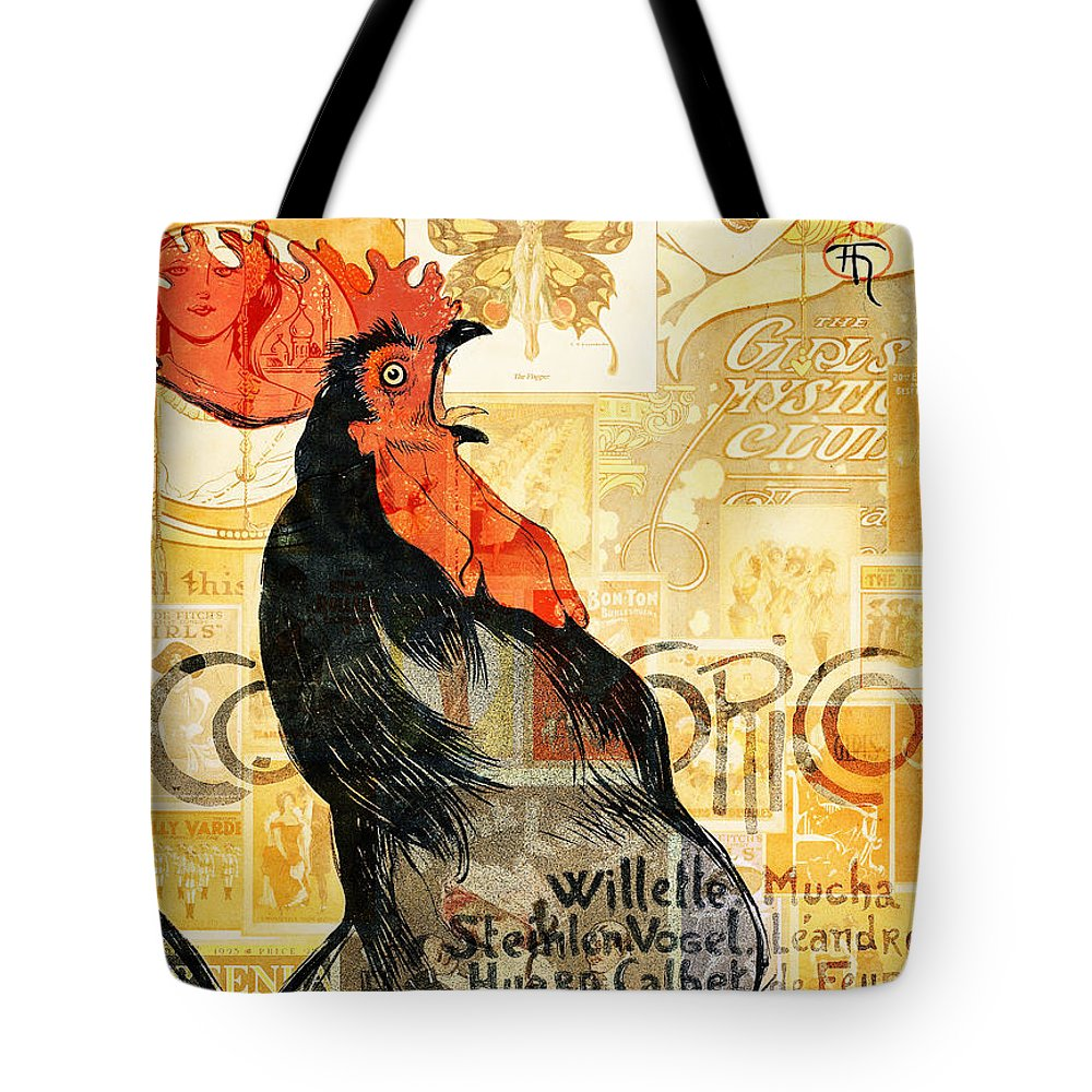 Vintage Tote Bag featuring the mixed media Rooster by Jacky Gerritsen