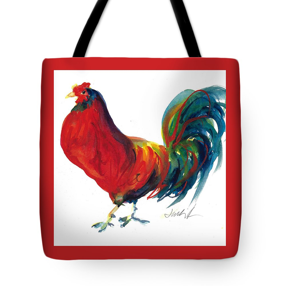 Rooster Painting Tote Bag featuring the painting Rooster - Little Napoleon by Jacki Kellum