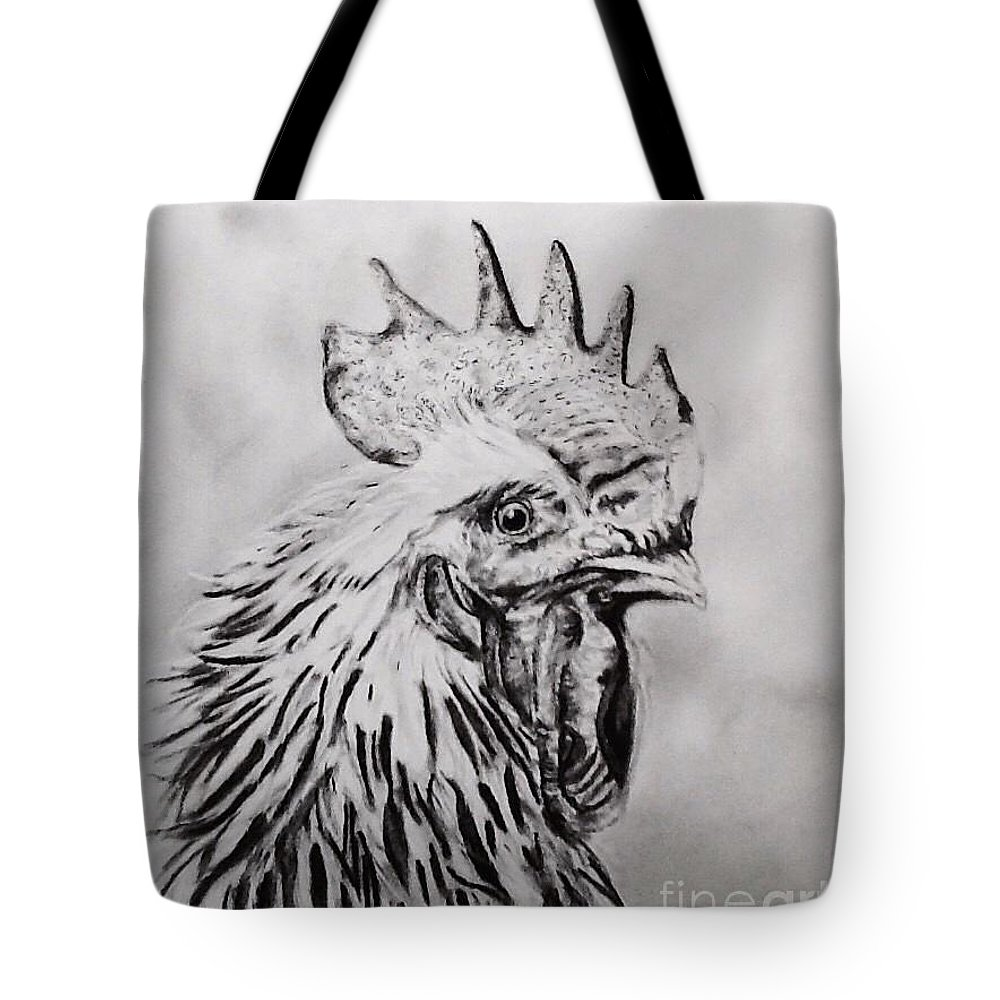 Rooster Tote Bag featuring the drawing Rooster by Regan J Smith