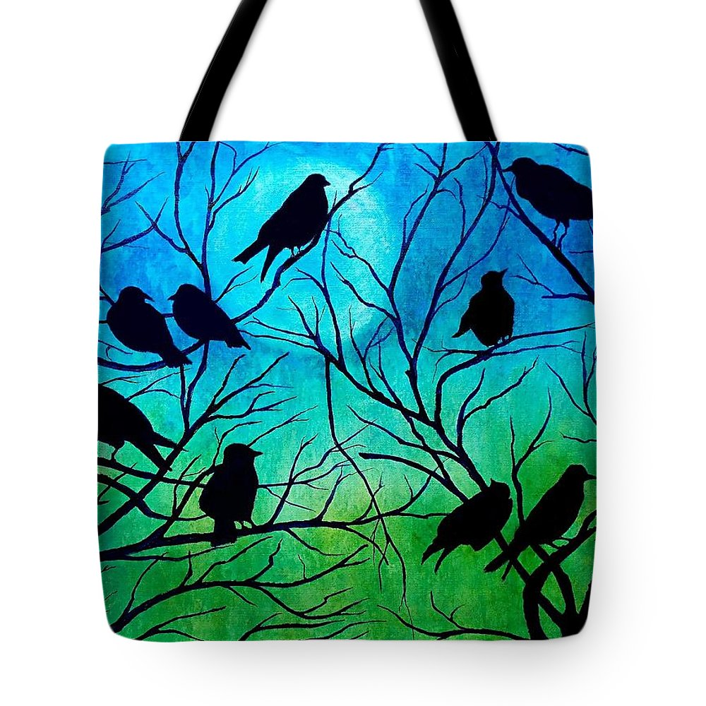Sue Delain Tote Bag featuring the painting Roosting Birds by Susan DeLain