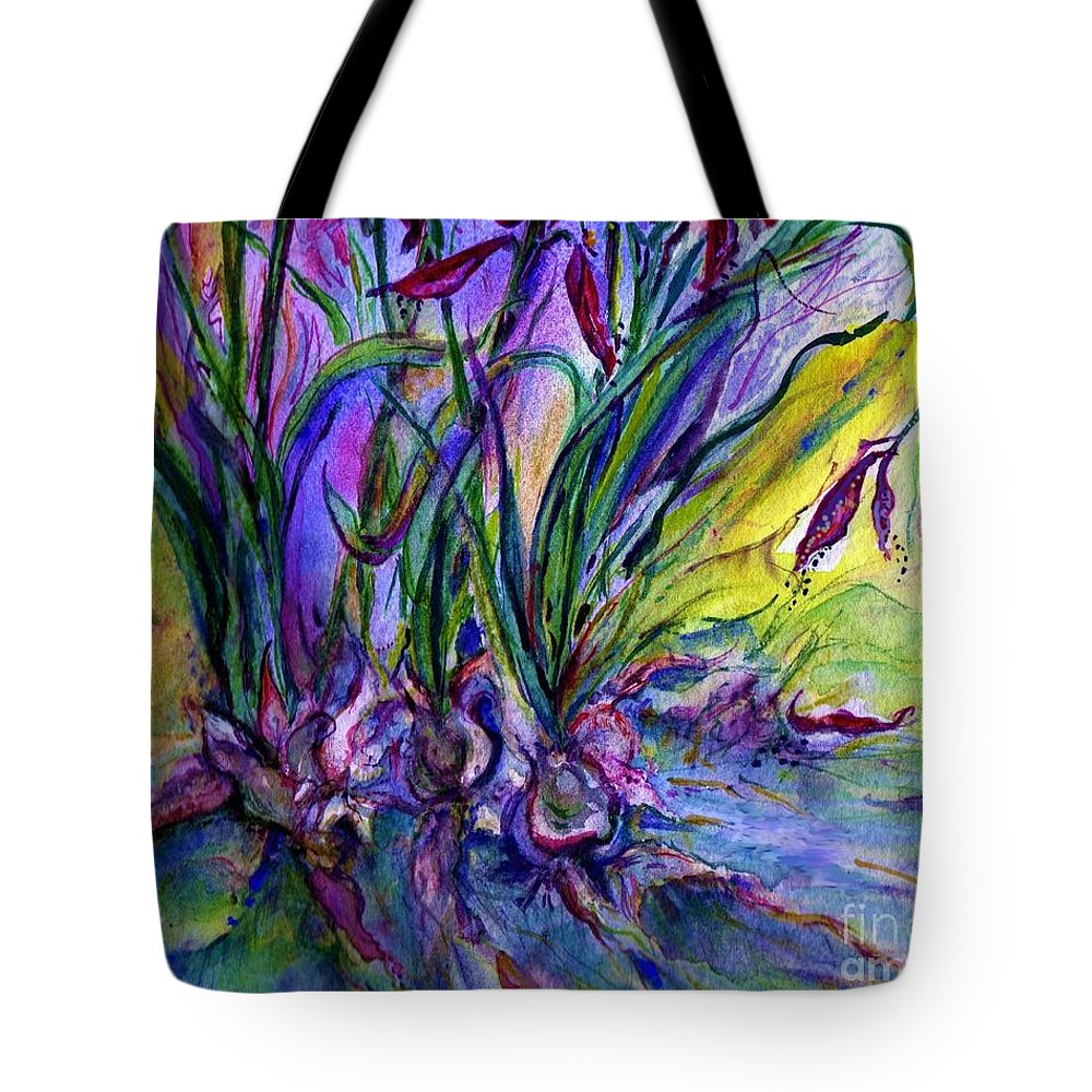 Flowers Tote Bag featuring the painting Roots In Blue by Carliss Prosser