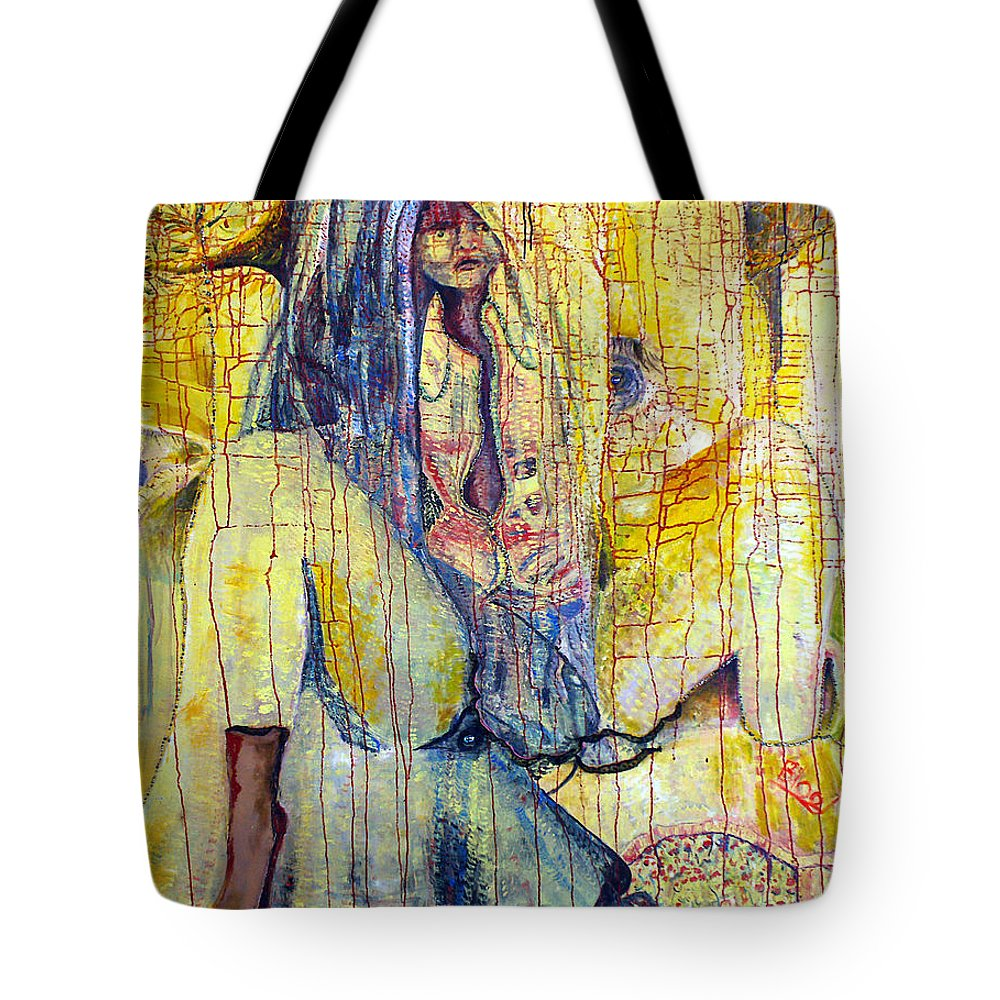 Portrait Tote Bag featuring the painting Roots by Peggy Blood