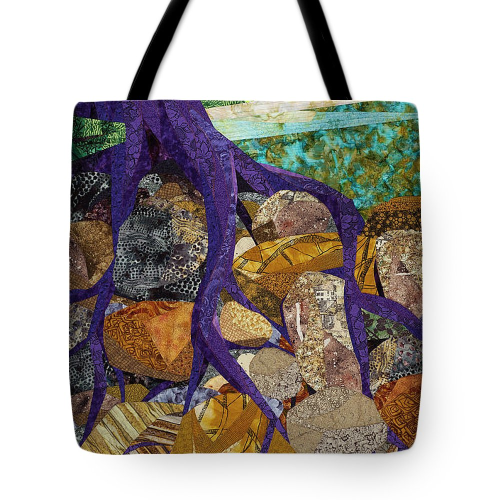 Tree Tote Bag featuring the tapestry - textile Roots Run Deep by Linda Beach
