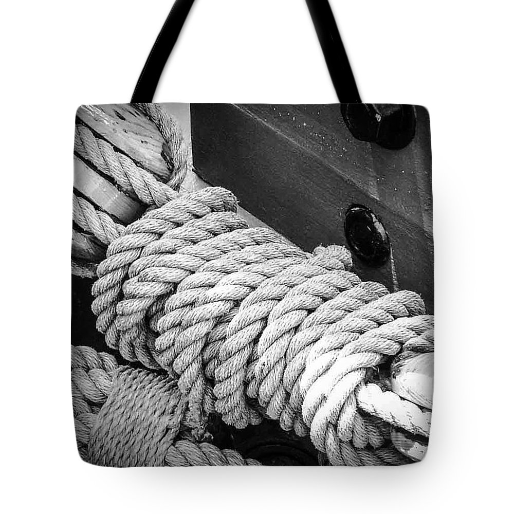 Rope Tote Bag featuring the photograph Ropes And Pulleys by K Hines