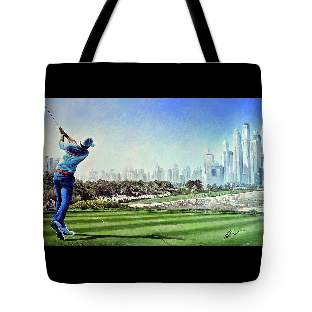 Rory Mcilroy Tote Bag featuring the painting Rory At Ddc Emirates Gc Dubai 8th 2014 by Mark Robinson