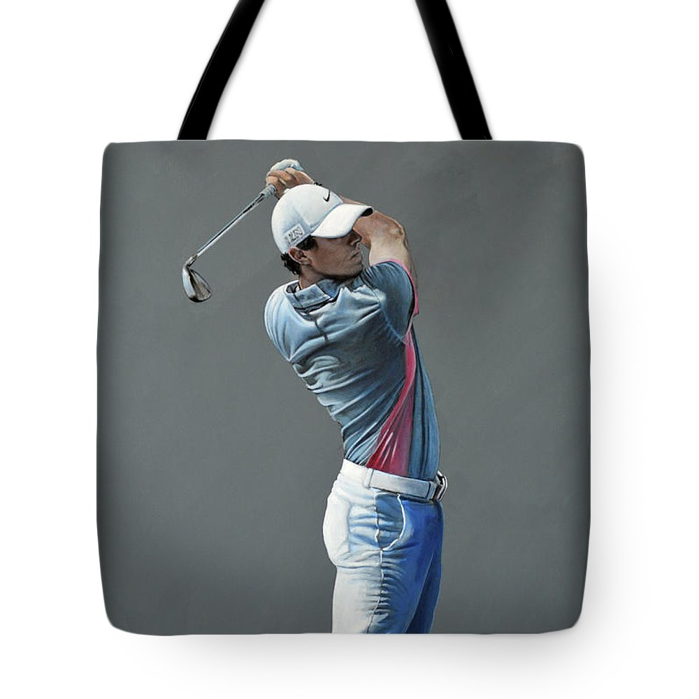 Rory Mcilroy Tote Bag featuring the painting Rory Mcilroy Ddc 2015 by Mark Robinson
