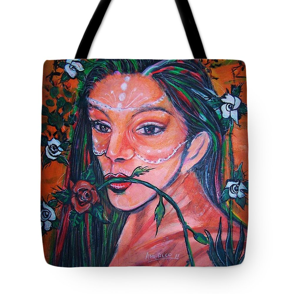 Latina Tote Bag featuring the painting Rosales Latina by Americo Salazar