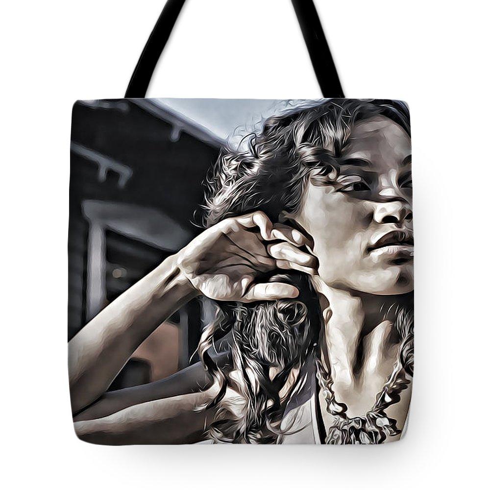 Rosario Dawson Tote Bag featuring the digital art Rosario Dawson by Lora Battle