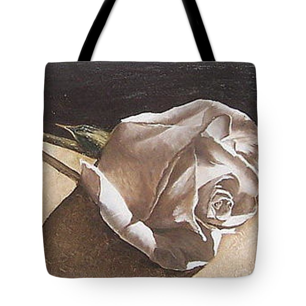Rose Light Flower Floral Tote Bag featuring the painting Rose 1 by Natalia Tejera