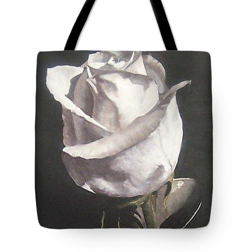 Rose Floral Nature White Flower Tote Bag featuring the painting Rose 2 by Natalia Tejera