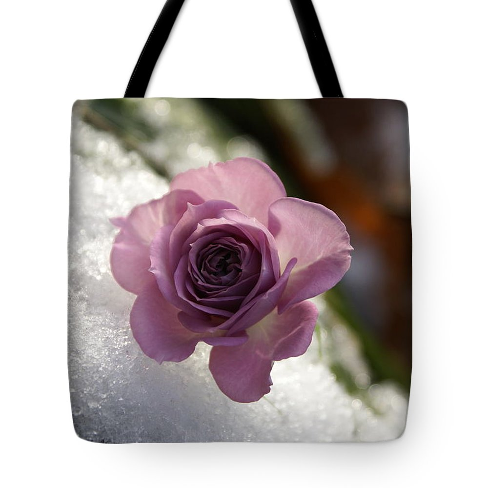 Flower Tote Bag featuring the photograph Rose And Snow by Heidi Poulin