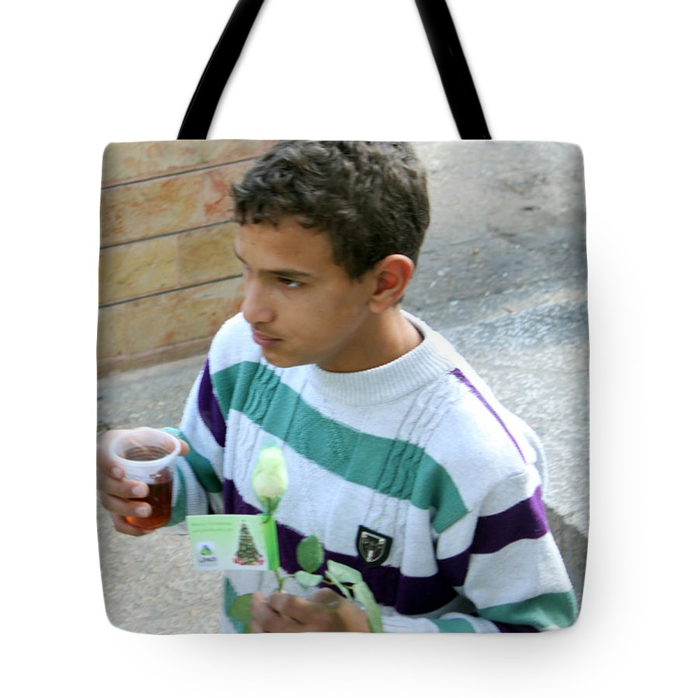 Kid Tote Bag featuring the photograph Rose And Tea by Munir Alawi