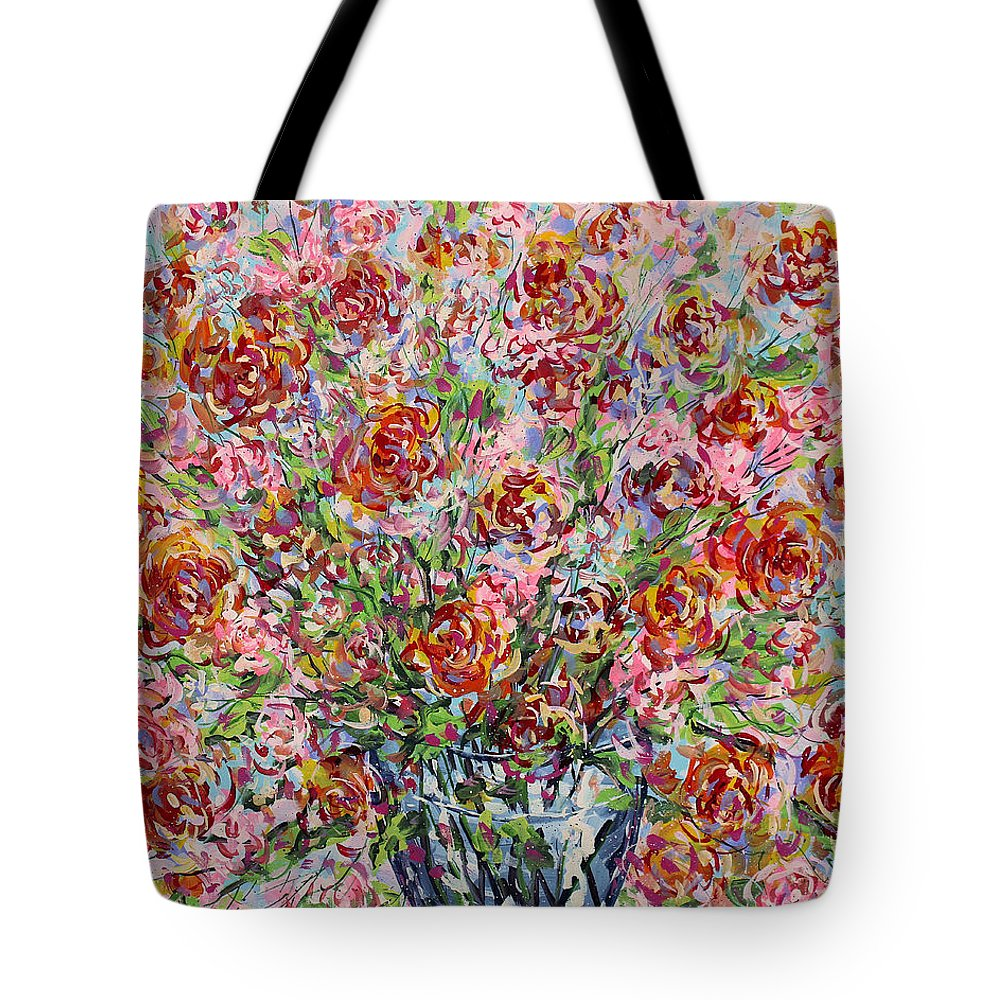 Flowers Tote Bag featuring the painting Rose Bouquet In Glass Vase by Leonard Holland