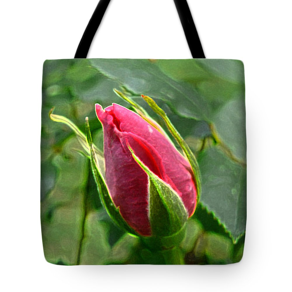 New England Photos Tote Bag featuring the photograph Rose Bud by Nancie DeMellia