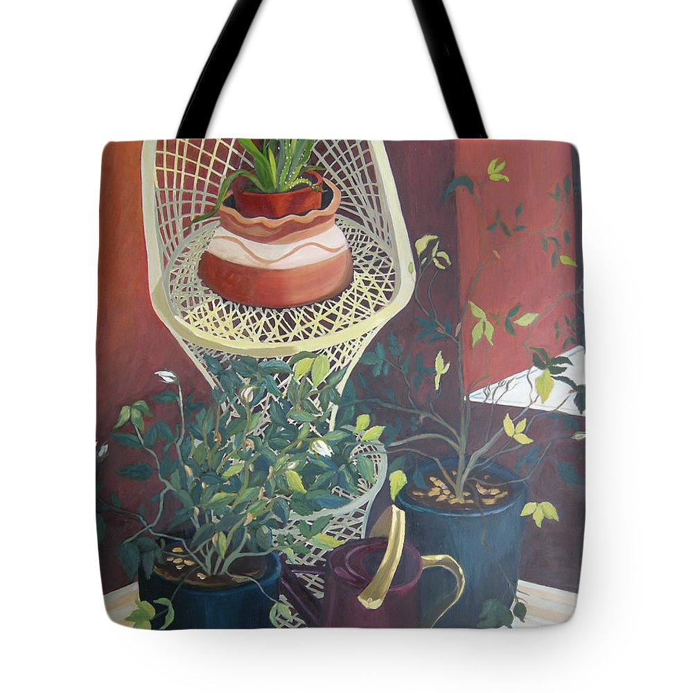 Still Life Tote Bag featuring the painting Rose Buds by Antoaneta Melnikova- Hillman