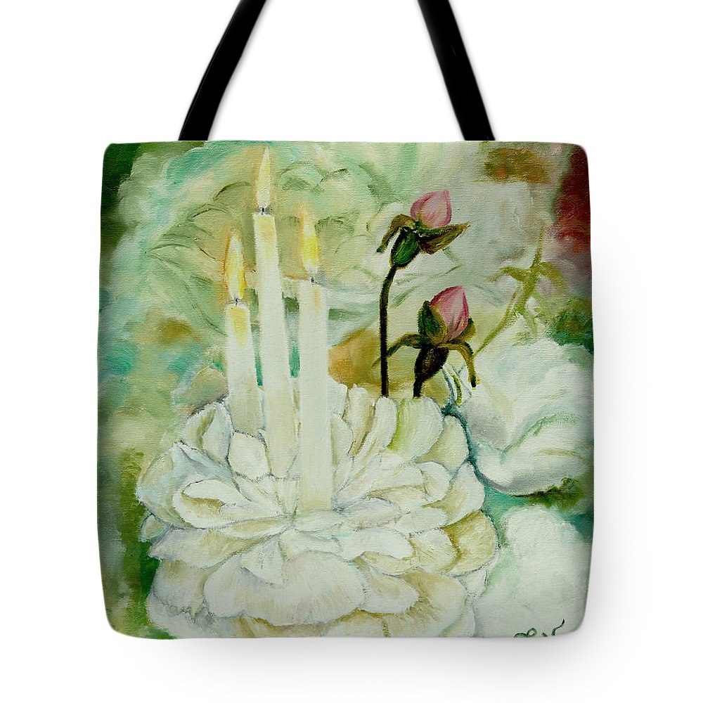 Rose Tote Bag featuring the painting Rose Candles by Miriam Leah