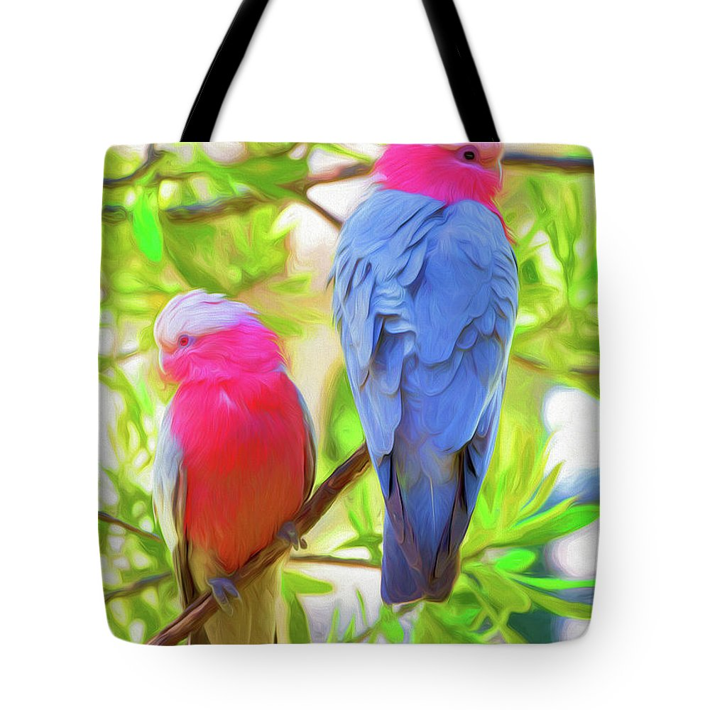 Galahs Tote Bag featuring the photograph Rose cockatoos by Sheila Smart Fine Art Photography
