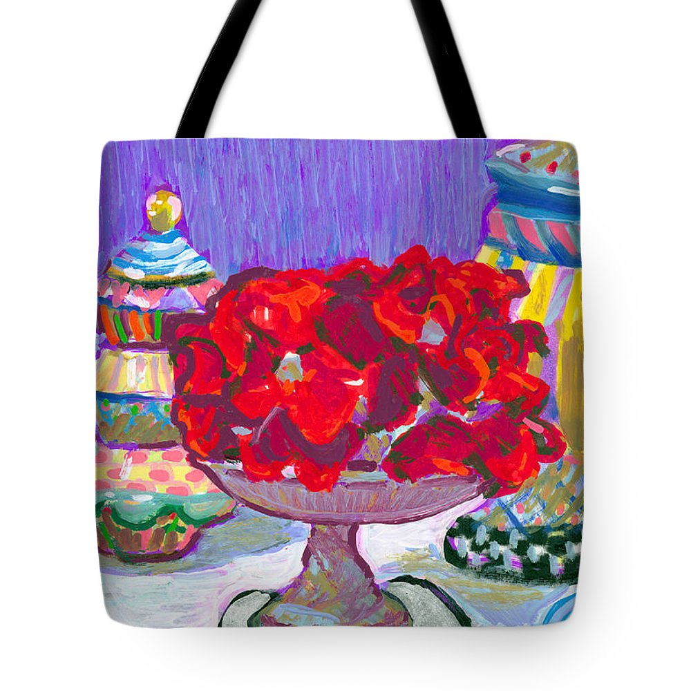 Rose Cake Tote Bag featuring the painting Rose Covered Cake by Candace Lovely