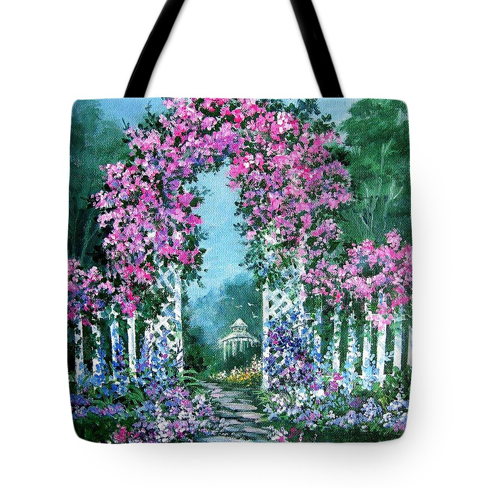 Roses;floral;garden;picket Fence;arch;trellis;garden Walk;flower Garden; Tote Bag featuring the painting Rose-covered Trellis by Lois Mountz