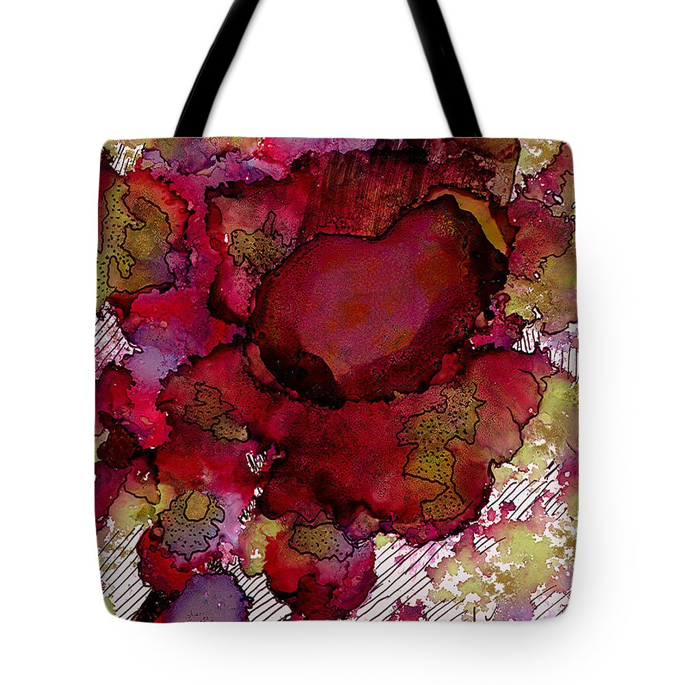 Abstract Tote Bag featuring the painting Rose Deep by Angela L Walker