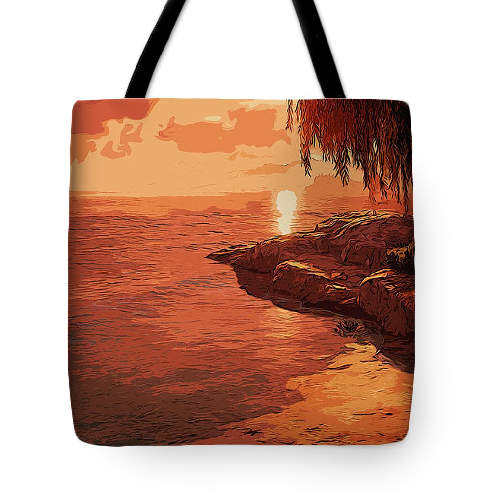 Sunrise Scene Tote Bag featuring the painting Rose From The Sea by Andrea Mazzocchetti
