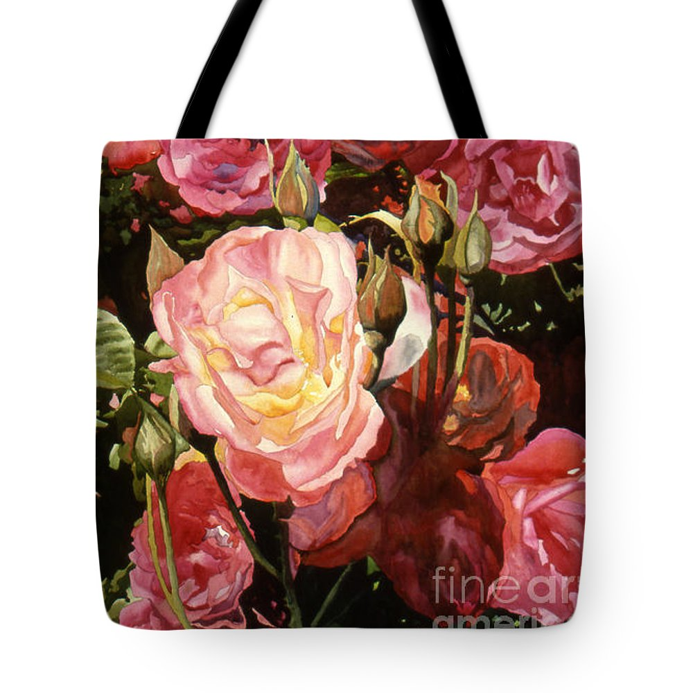 Watercolor Tote Bag featuring the painting Rose Garden by Teri Starkweather