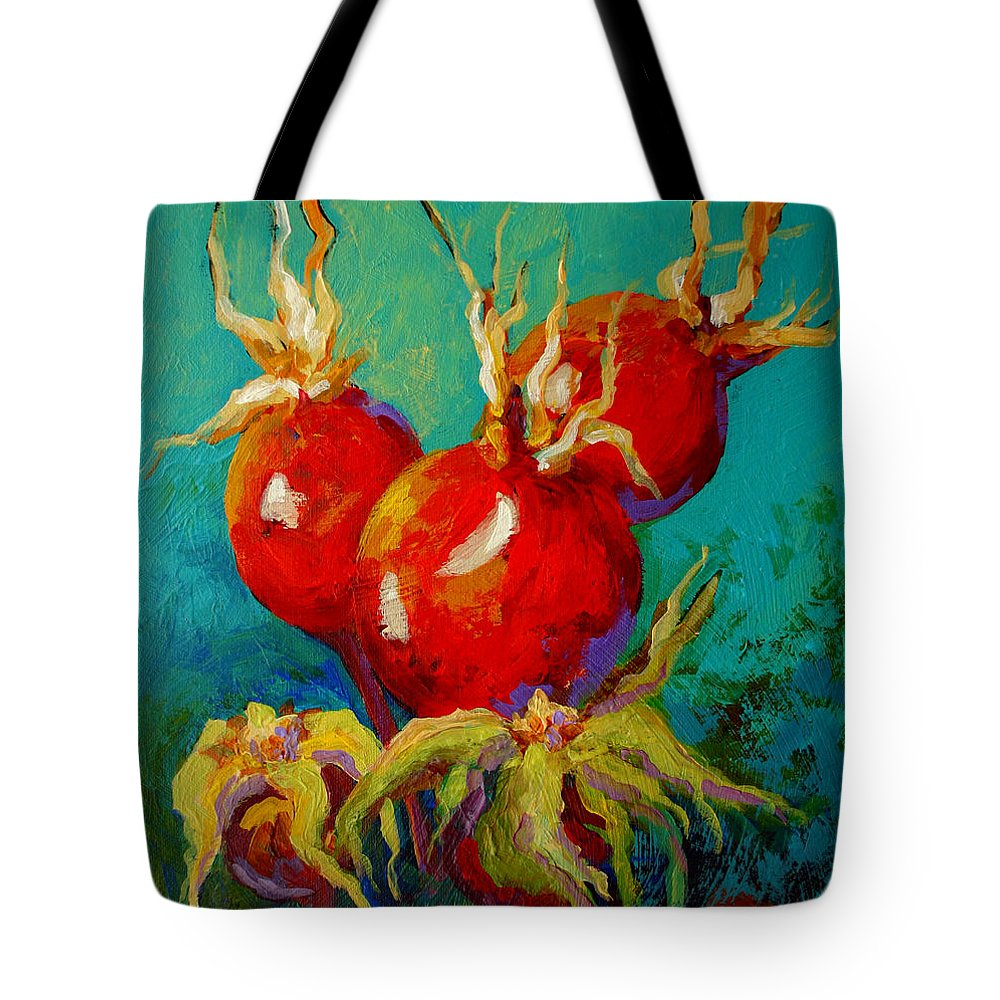 Floral Tote Bag featuring the painting Rose Hips by Marion Rose