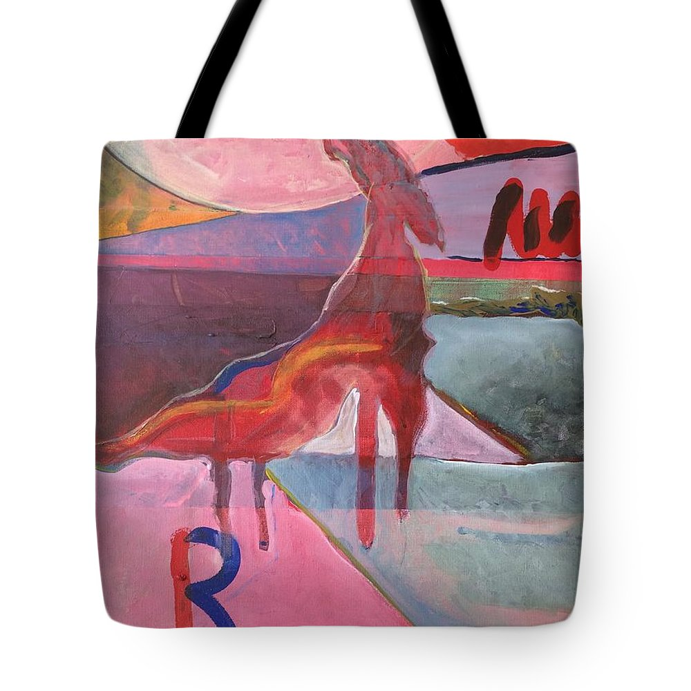 Abstract Tote Bag featuring the painting Rose Horse by Jesus Alonso