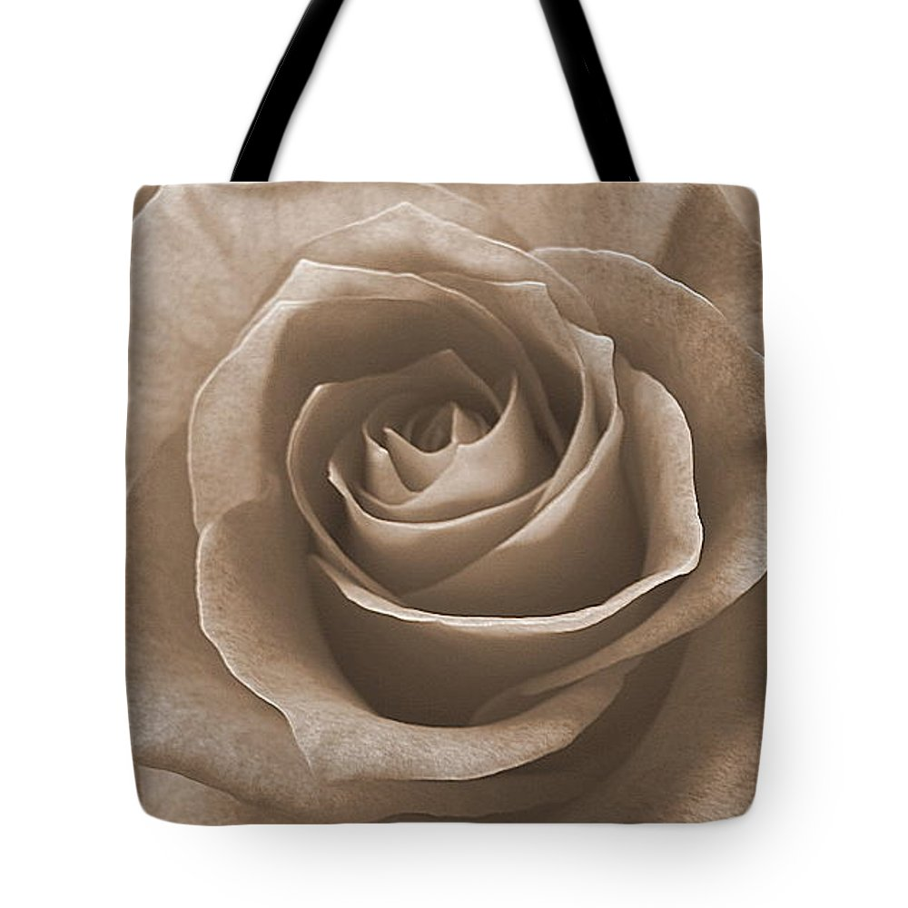 Rose Sepia Pedals Tote Bag featuring the photograph Rose In Sepia by Luciana Seymour