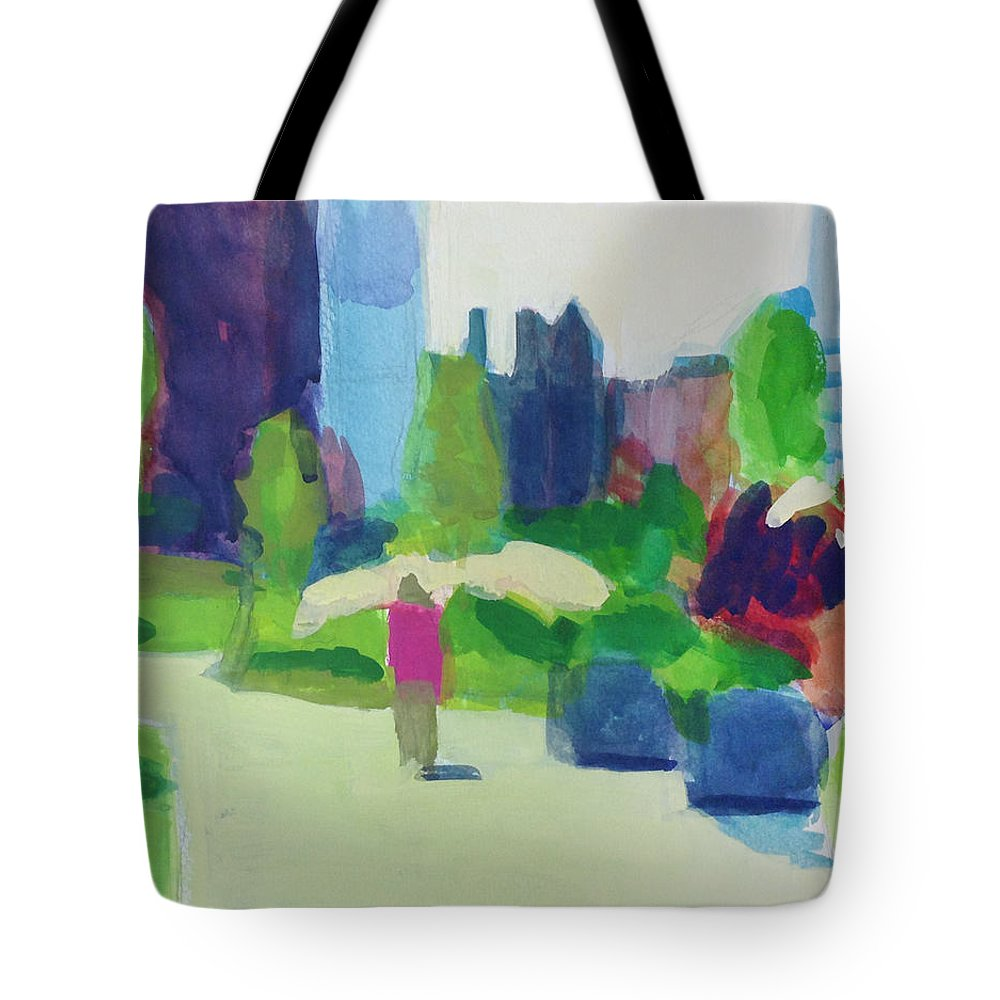 Landscape Tote Bag featuring the painting Rose Kennedy Greenway, Boston by Amy Hamlet