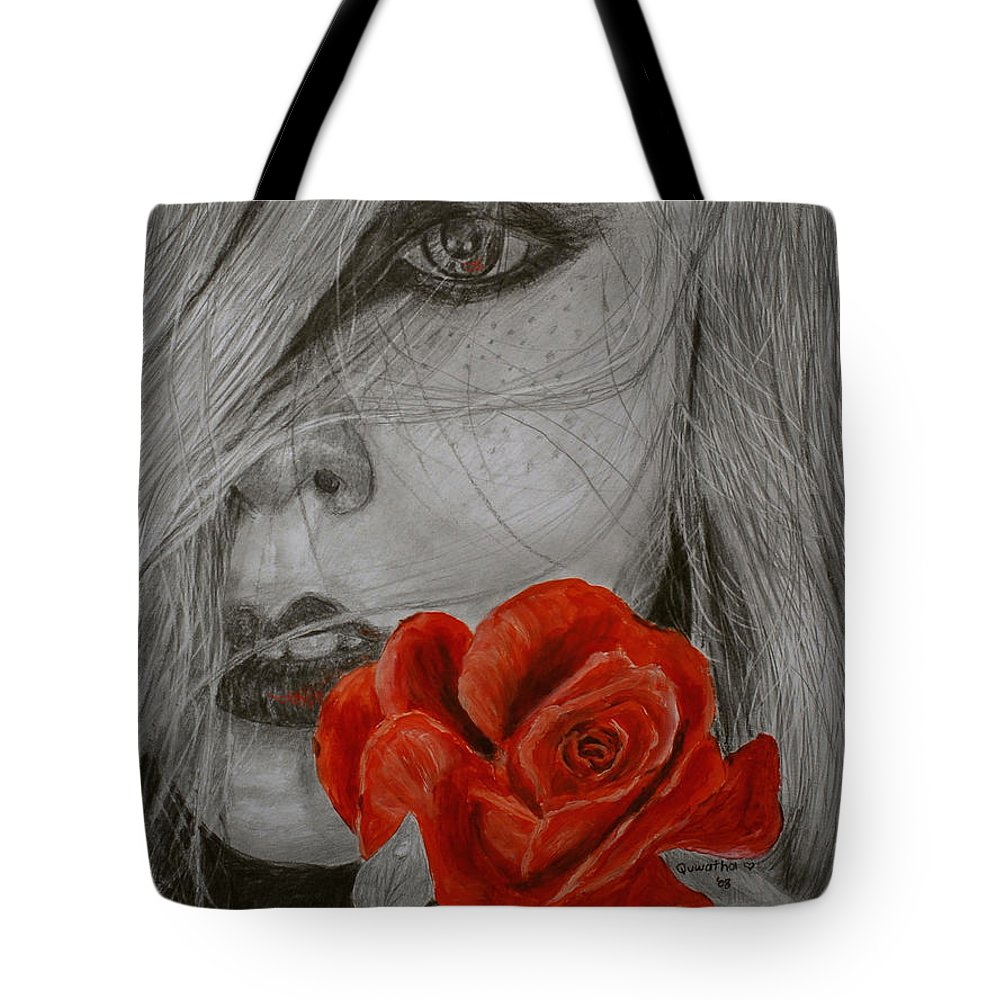 Woman Tote Bag featuring the painting Rose Kisses by Quwatha Valentine