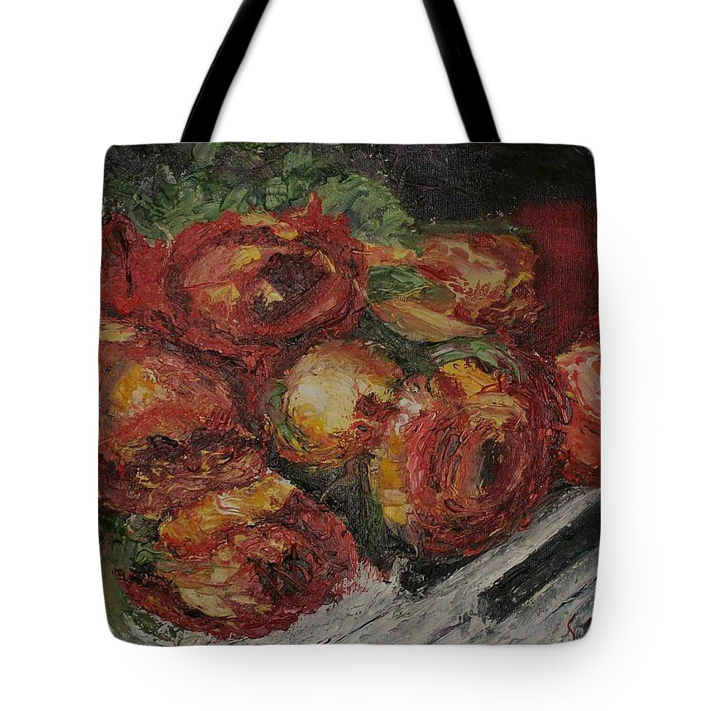 Still Life Tote Bag featuring the painting Rose Melody by Stephen King