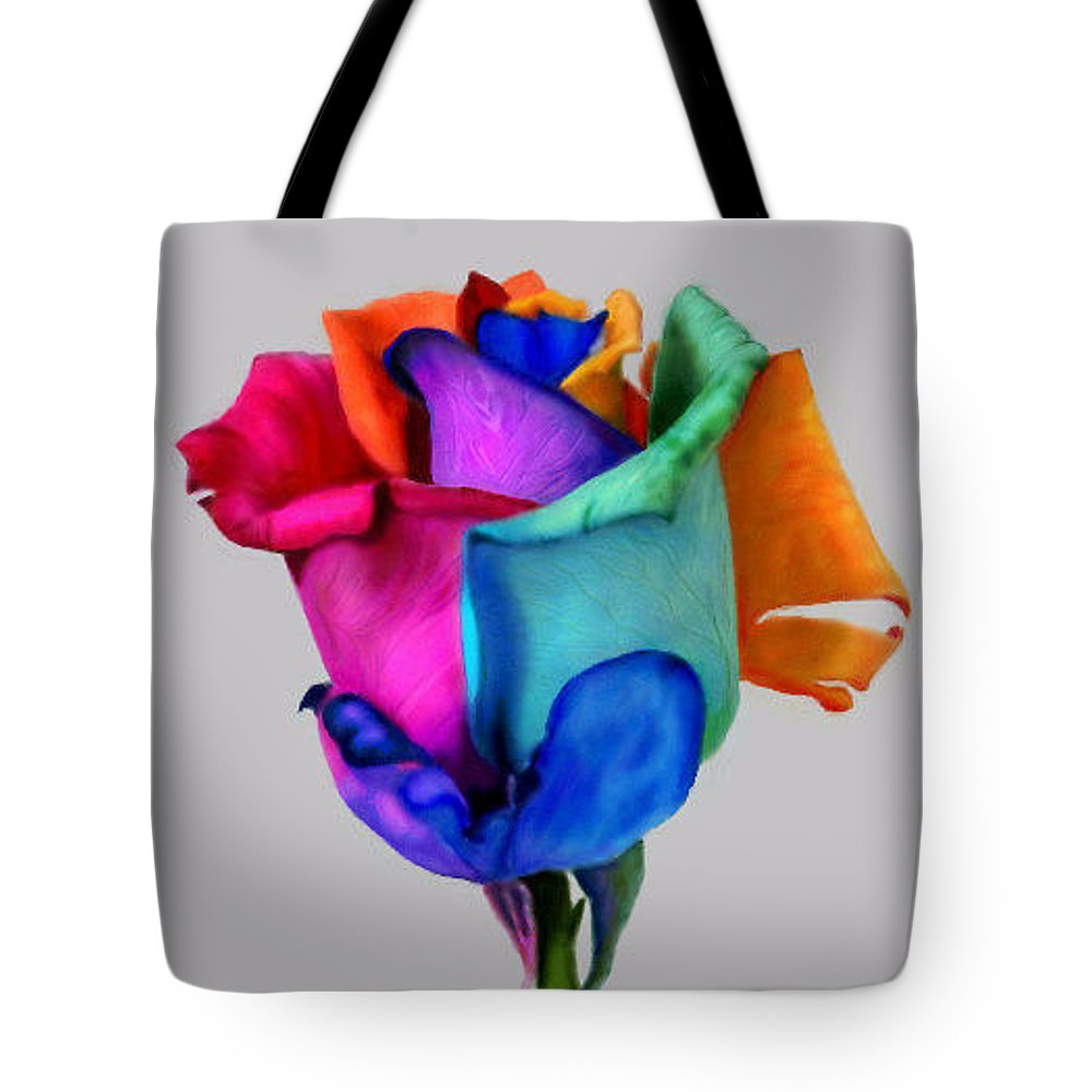 Rose Tote Bag featuring the digital art Rose Of Many Colors by Ellen Dawson