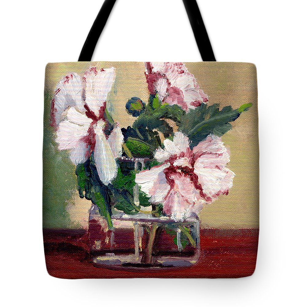 Impressionism Tote Bag featuring the painting Rose Of Sharon by Keith Burgess