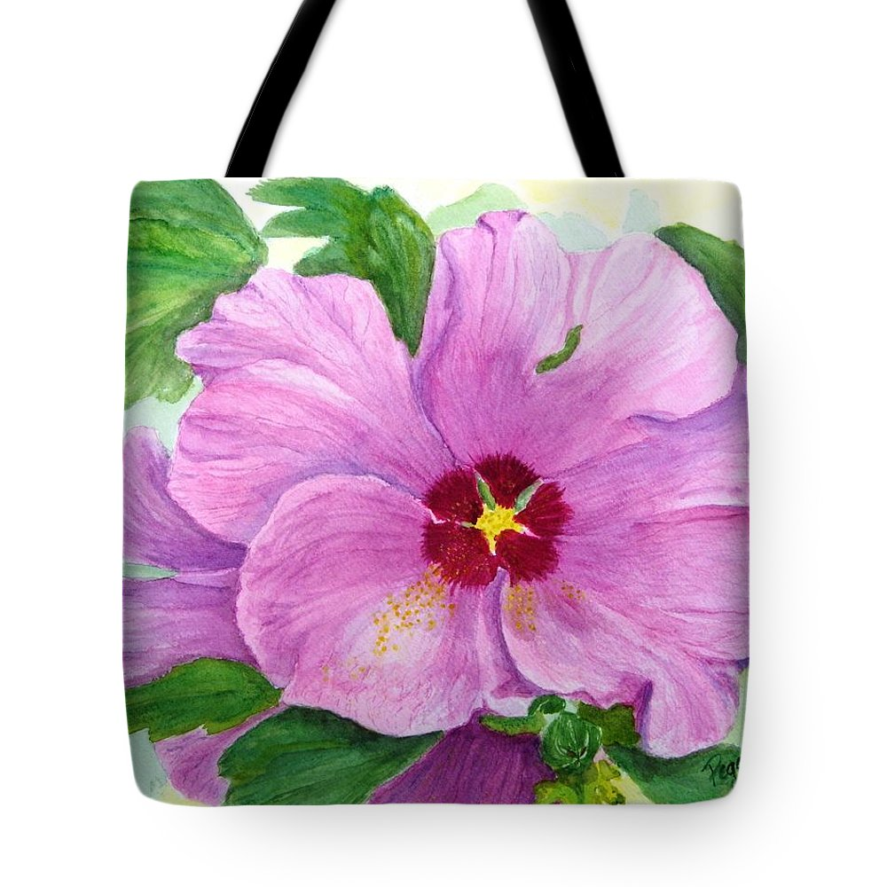Watercolour Tote Bag featuring the painting Rose Of Sharon by Peggy King