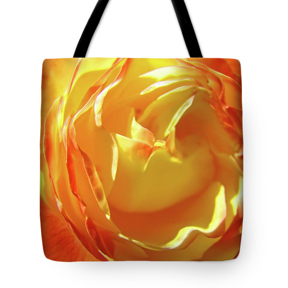 Rose Tote Bag featuring the photograph Rose Orange Yellow Roses Floral Art Print Nature Baslee Troutman by Baslee Troutman
