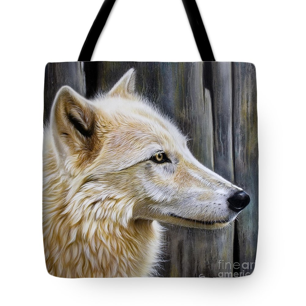 Wolves Tote Bag featuring the painting Rose by Sandi Baker