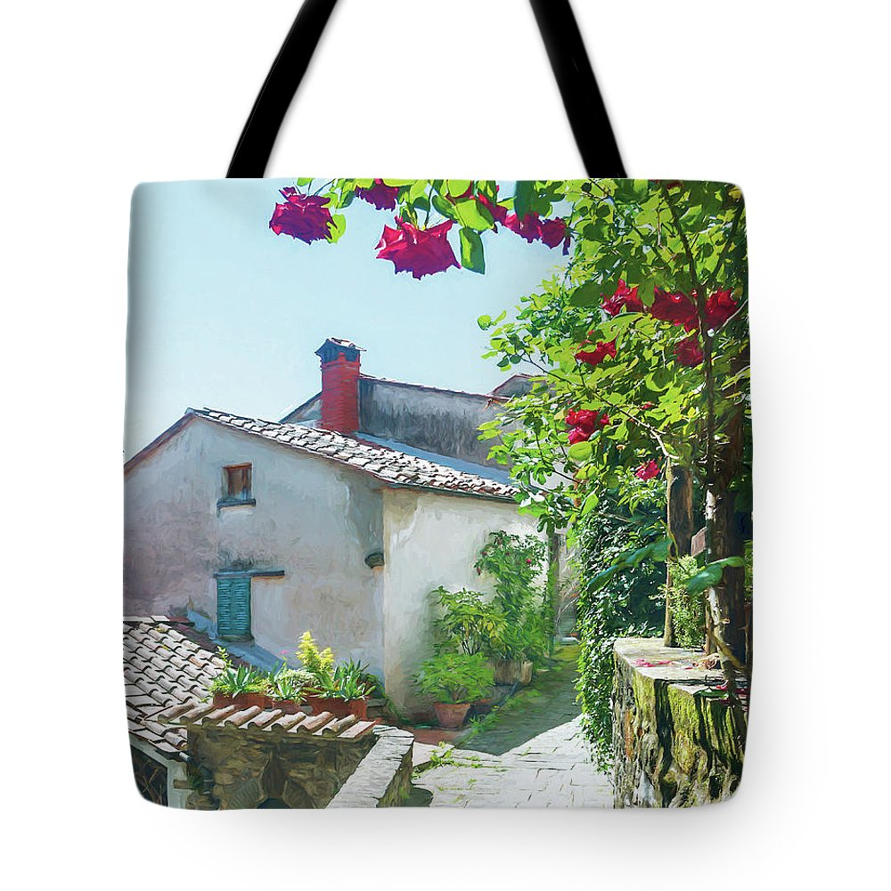 Roses Tote Bag featuring the photograph Rose Scented Pathway by Susan Heslington