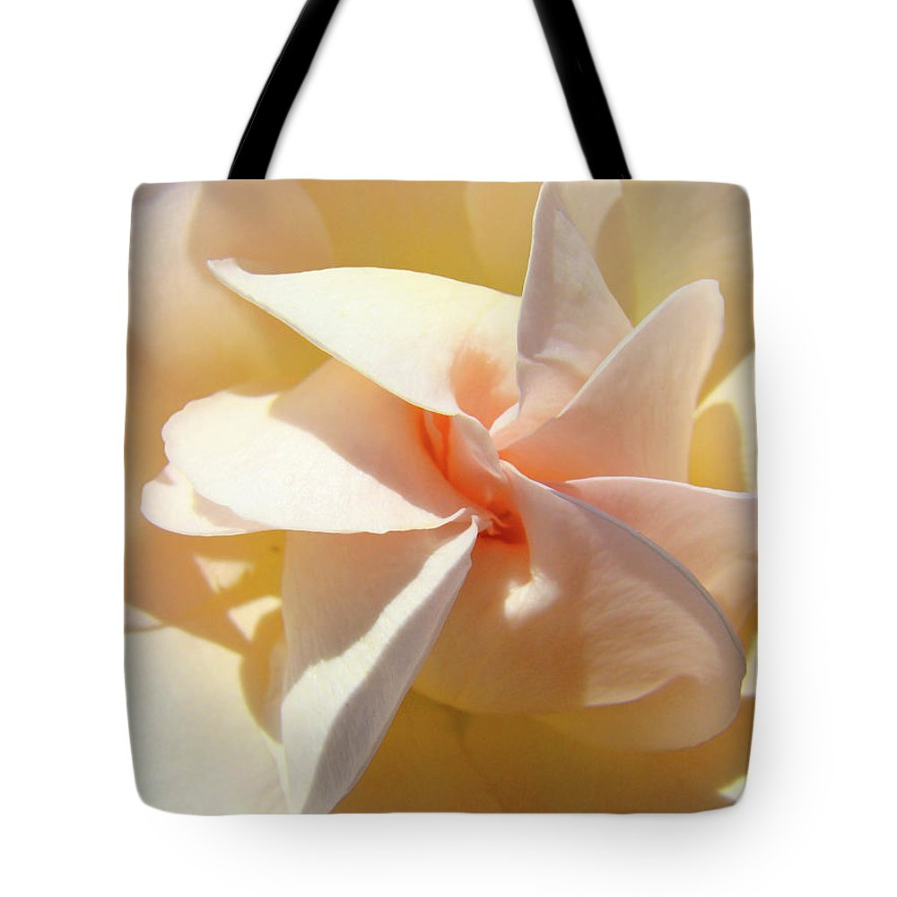 Rose Tote Bag featuring the photograph Rose Spiral Flower Art Prints Peach Rose Floral Baslee Troutman by Baslee Troutman
