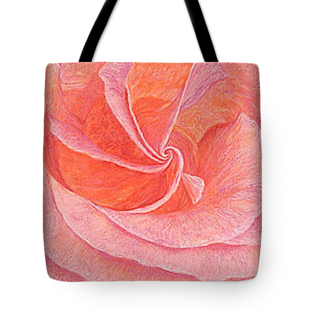 Art Print Prints Fine Giclee Canvas Framed Unframed Rose Pink Roses Garden Floral Flower Flowers Tote Bag featuring the drawing Rose Sprial Pink Fine Art Print Giclee Garden Flower Floral Botanical Love Romance by Baslee Troutman