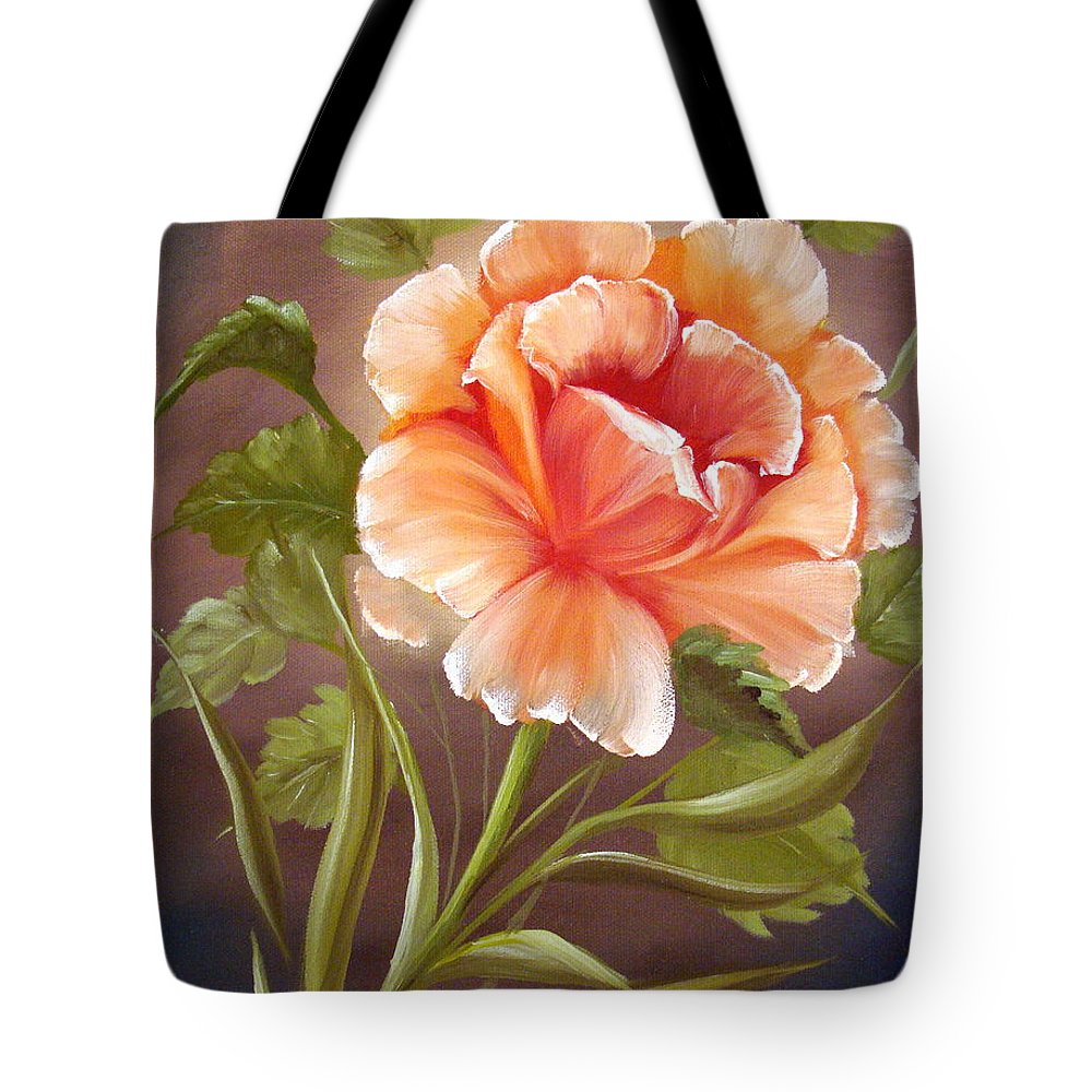 Rose Tote Bag featuring the painting Rose Tropicana by David G Paul
