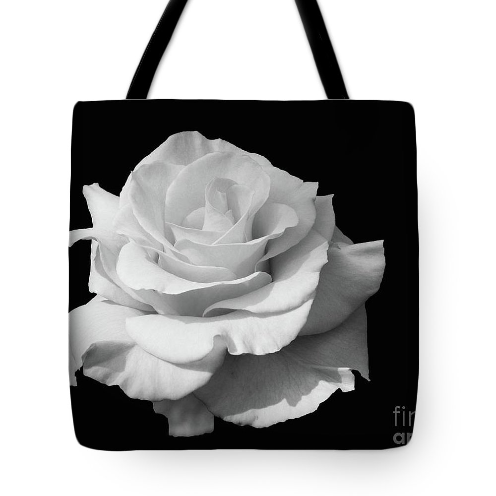 Flowers Tote Bag featuring the photograph Rose Unfurled In Black And White by Cindy Manero