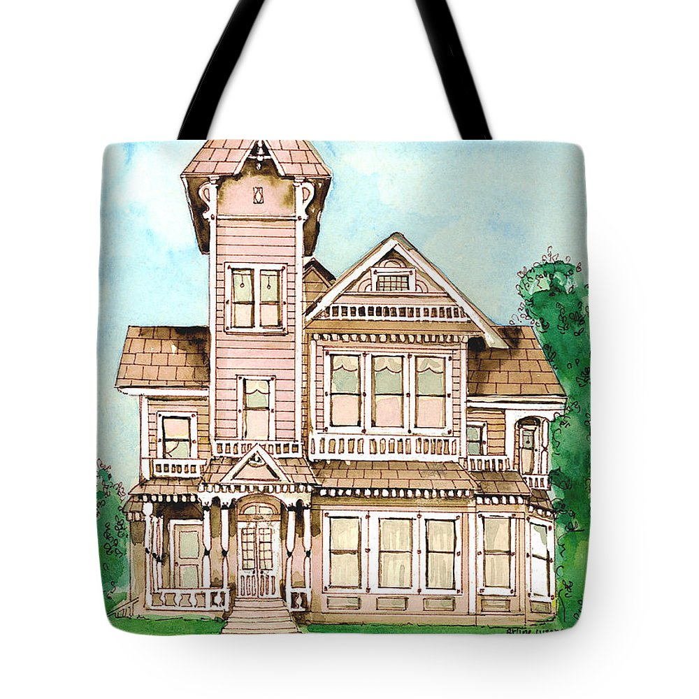 Victorian Inn Tote Bag featuring the painting Rose Victorian Inn - Arroyo Grande Ca 1886 by Arline Wagner