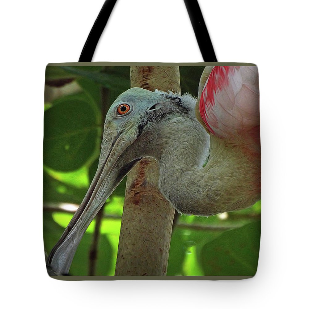 Spoonbill Tote Bag featuring the photograph Roseate Spoonbill by Deborah Ferrence
