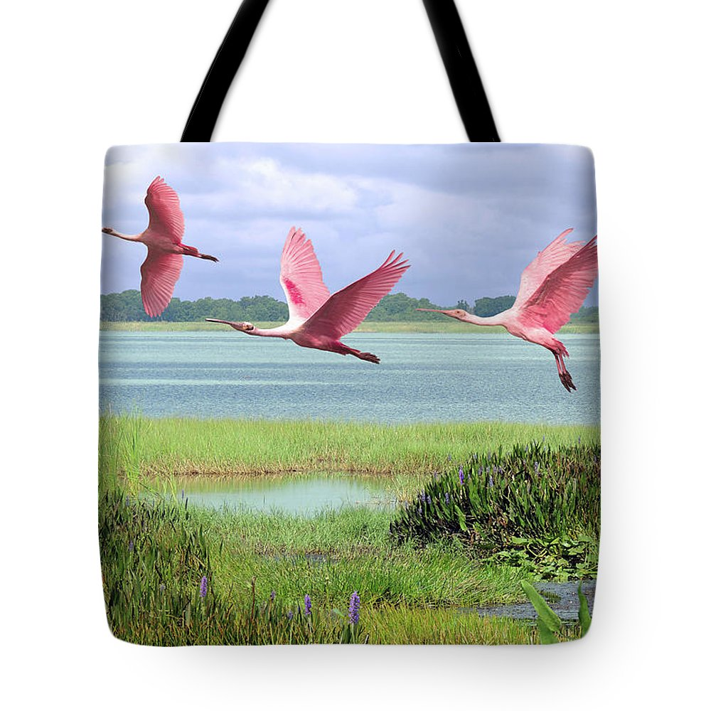 Birds Tote Bag featuring the digital art Roseate Spoonbills Of Florida Bay by M Spadecaller