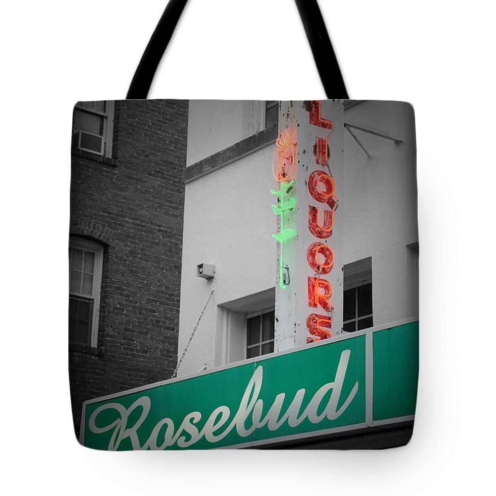 Rosebud Tote Bag featuring the photograph Rosebud Liquors by Jost Houk