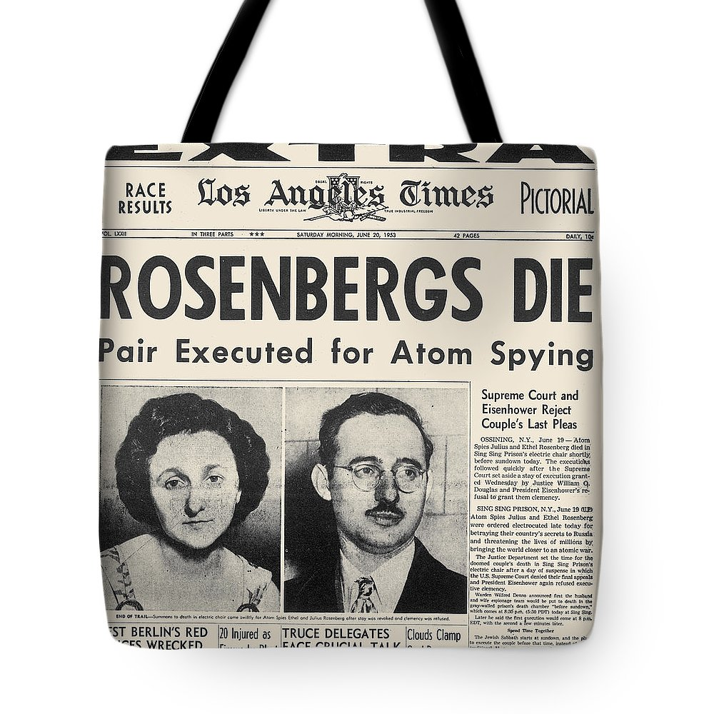 1953 Tote Bag featuring the photograph Rosenberg Execution, 1953 by Granger