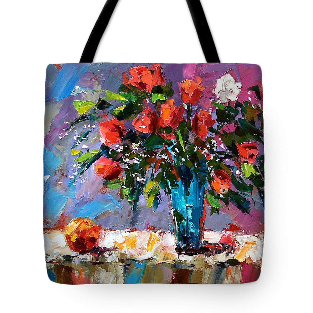 Flowers Tote Bag featuring the painting Roses And A Peach by Debra Hurd